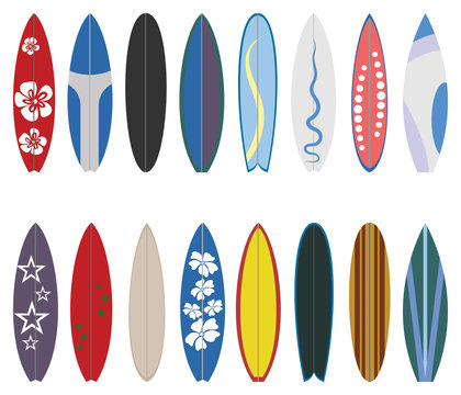 Surfboard collection. Flat design vector set. Surfboard set on white background.