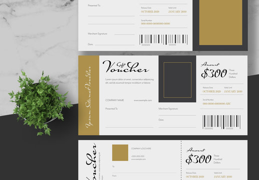 Gift Voucher Layout with Gold Accents