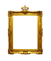Gold antique frame with crown