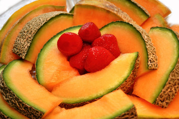 Cantalope with Strawberries
