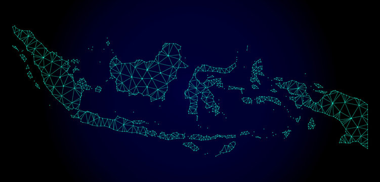 Polygonal mesh map of Indonesia. Abstract mesh lines, triangles and points on dark background with map of Indonesia. Wire frame 2D polygonal line network in vector format on a dark blue background.