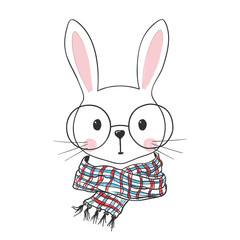 Cute bunny with scarf, glasses