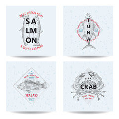 Best fresh fish Tuna, Salmon, Seabass, Crab. Vector illustration