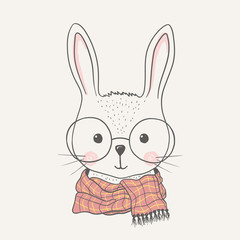Cute bunny with glasses, scarf
