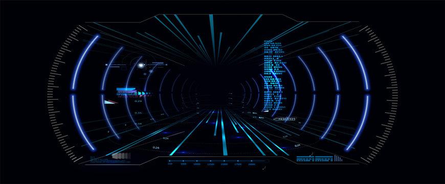 Virtual reality.Futuristic VR Head-up Display Design. Sci-Fi Helmet HUD. Future Technology Display Design.