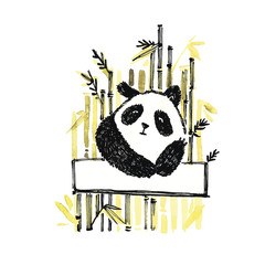 Cute panda in graphic style with bamboo. Vector hand drawn illustration.