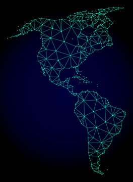 Polygonal mesh map of South and North America. Abstract mesh lines, triangles and points on dark background with map of South and North America.