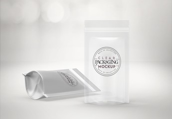 Clear or Foil Stand-Up Pouches Mockup