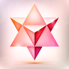 3d Merkaba, esoteric crystal, sacral geometry shape, volume pink and orange star with light effect, unreal form, abstract vector object