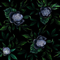 Seamless pattern of different white and blue peony flowers and leaves on dark black background.