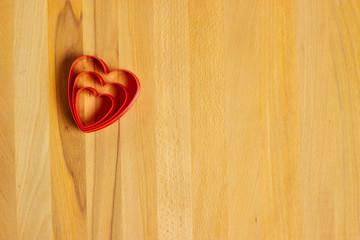 Fototapeta Hearts on wooden background obraz