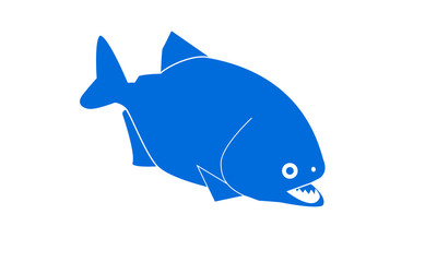 Print piranha blue with open mouth on a white background