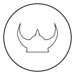 Viking helmet icon black color illustration in circle round