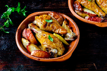 Baked chicken legs with apples