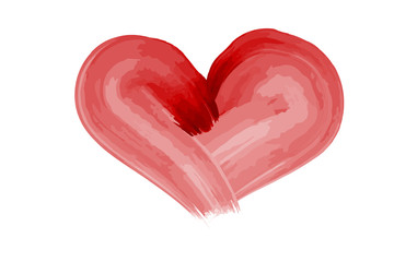 Red watercolor heart painted by brush for Valentine's Day on a white background
