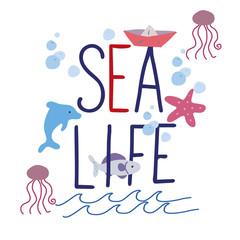 Hand drawing sea slogan .
