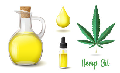 Natural hemp oil icons set, flask and glass bottle, drop, hemp, cannabis hemp leaf, yellow essence cosmetic or aroma oil, vector illustration isolated on white background
