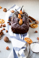 Vegan Dark Chocolate Pear Cake