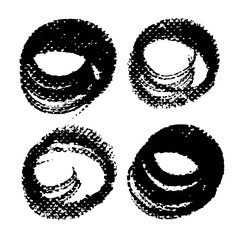 Four round abstract textured black ink strokes and stamps isolated on a white background
