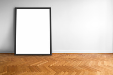 empty picture frame on wooden  floor white wall background   -