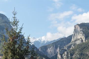 snowy cloudy mount olympus peak seen ground view