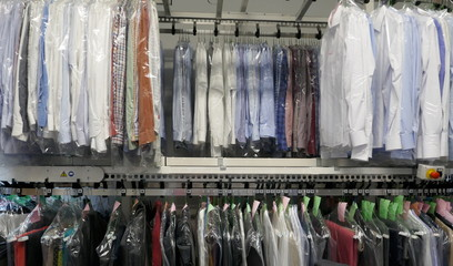 Freshly cleaned men's shirts and ladies blouses