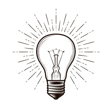 Bulb, lamp sketch. Electricity, electric light, energy concept. Hand drawn vector illustration