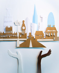 Paper cut design. Abstract London view with Westminster bridge, Big Ben and City view. Creativity, education, hobby, innovation and inspiration concept.