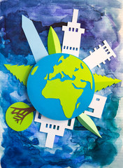 Paper cut design. Cities  and our planet. Creativity, education, hobby, innovation and inspiration concept.