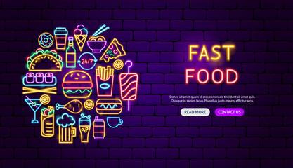 Fast Food Neon Banner Design
