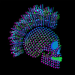 3D Punk skull icon with dots and ornament details neon mint color