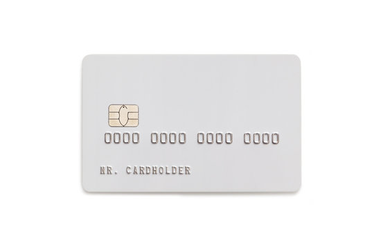 White credit card isolated on white background