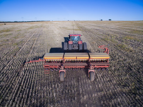 Direct seeding, agricultural machinery, in La Pampa, patagonia, Argentina