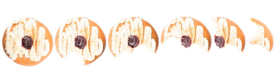 Doughnut with sweet cheese and jam topping on white background. High resolution image for food industry. Wall mural