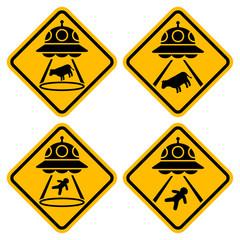 UFOに注意 警告サインのセット (アブダクション/Abduction)