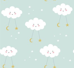 seamless pattern with cute clouds and rainbows. vector illustration,