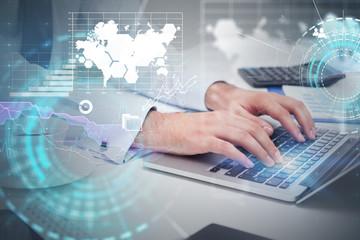 Man typing on laptop, infographics