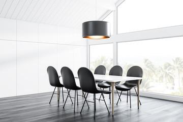 Attic dining room corner, long table