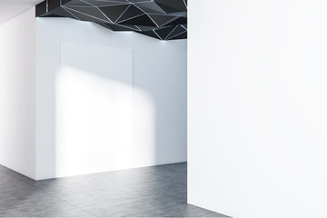 Empty white room with poster