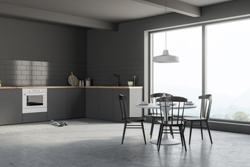 Gray kitchen corner with table