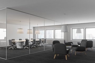 Side view of meeting room and lounge