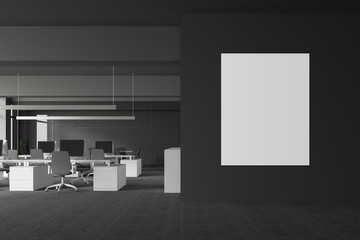 Gray office interior with poster