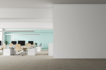White office with mock up wall