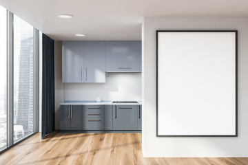 Panoramic kitchen with poster