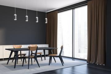 Gray stylish dining room corner