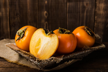 Delicious ripe persimmon fruit