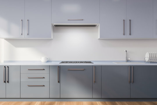 Kitchen with gray countertops
