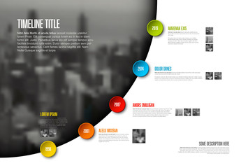Timeline Buttons on Photo Arc Infographic Layout