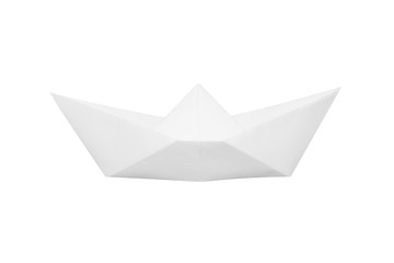 Boat made of white paper on white background.