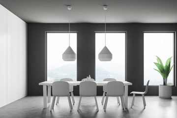 White and gray dining room interior